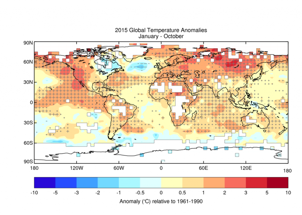 Average temperature anomalies for January to October 2015