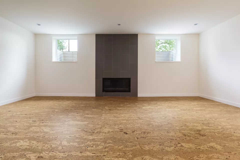 leaving room with fireplace made with cork floor