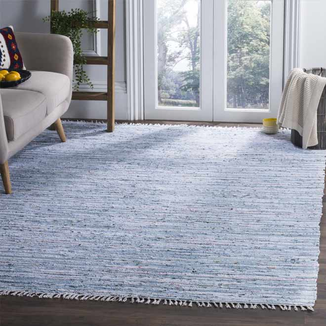 stylish blue cotton area rug