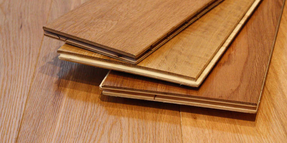 engineered wood boards placed on the soufice