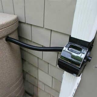 fiskars diverter installed to downspout pipe