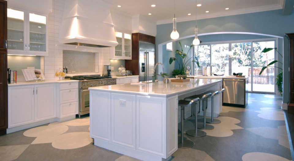 linoleum inside a modern kitchen