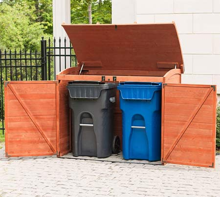 wooden garbage can storage shed